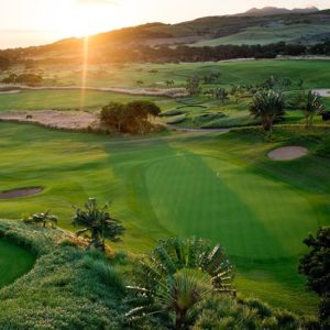 Le Telfair golf puesta de sol